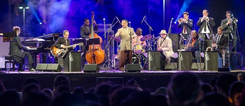 With the George Gee Swing Orchestra in Brazil. Photo by Wander Faria.